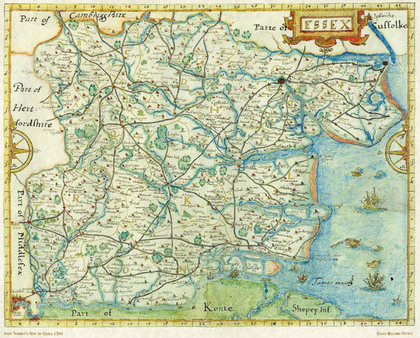 Map of the county of Essex in 1594. The extensive coastal salt marshes provided high-quality grazing for sheep and cattle but were also a favored habitat for An. atroparvus, a highly effective malaria vector. The disease was a major cause of illness and death in the area until the end of the 18th century. Reproduced by courtesy of Essex Record Office.
