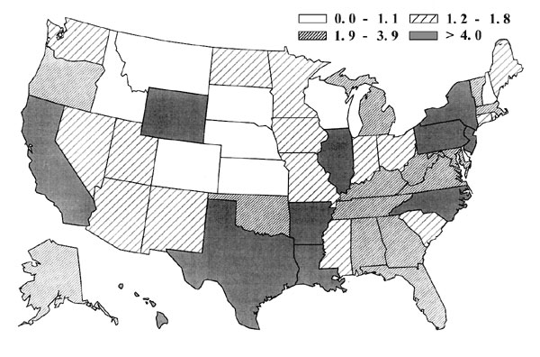 Projected quartiles of tuberculosis case rates per 100,000 by state, 2010.