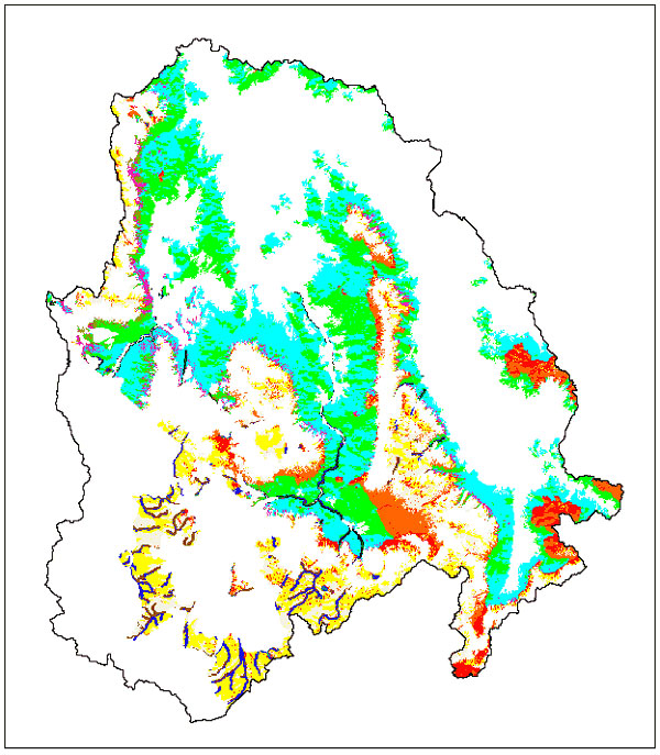 Environmental strata within the mapped extent of the sagebrush-grass scrub vegetation type. Each color represents a unique combination of high or low vegetation density index, standard deviation of vegetation density index, slope, elevation, and distance from stream. White areas represent the other seven vegetation types (strata not shown).