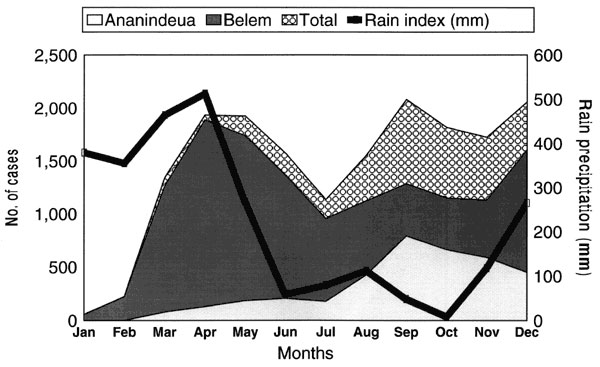 Monthly distribution of rain precipitation (line) and Dengue fever cases as seen at Instituto Evandro Chagas, Pará, Brazil. Source for rain precipitation, Instituto Nacional de Meteorologia, Brazil.