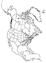 Thumbnail of Southeastern US migration pattern of the European Starling (Sturnus vulgaris), as shown by band returns. From Bull's Birds of New York State (37). Stars on the figure denote banding location; dots denote recovery location.