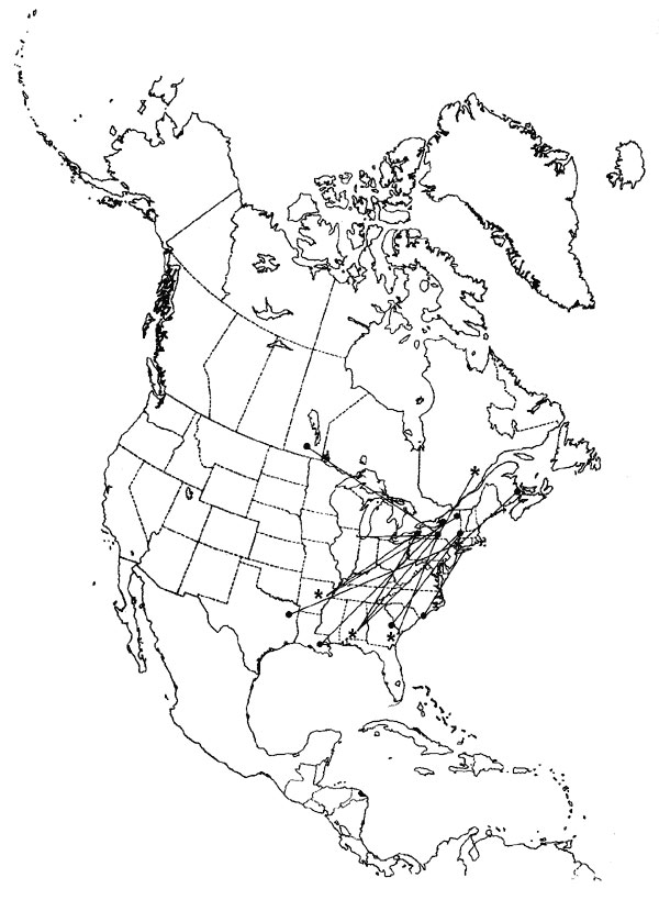 Southeastern US migration pattern of the European Starling (Sturnus vulgaris), as shown by band returns. From Bull's Birds of New York State (37). Stars on the figure denote banding location; dots denote recovery location.