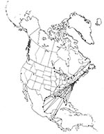Thumbnail of Circum-Gulf migration pattern of the Herring Gull (Larus argentatus), as shown by band returns. From Bull's Birds of New York State (37). Stars on the figure denote banding location; dots denote recovery location.