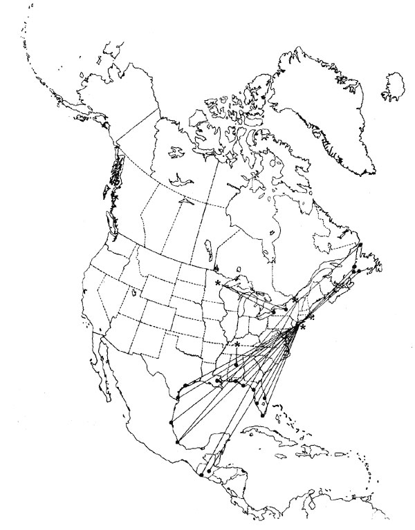 Circum-Gulf migration pattern of the Herring Gull (Larus argentatus), as shown by band returns. From Bull's Birds of New York State (37). Stars on the figure denote banding location; dots denote recovery location.