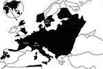 Thumbnail of Map of Europe showing the distribution of Ixodes ricinus (1). The areas where I. ricinus is prevalent are shaded in black and the prevalence of R. helvetica in I. ricinus, where estimated, is indicated.