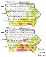 Thumbnail of Iowa maps showing Ehrlichia chaffeensis seropositive specimens by county. The total number of positive specimens was 102 of 1,775 in 1994 (top map) and 91 of 1,102 in 1996 (bottom map). Within each of the 99 counties is listed the number of positive specimens over the total submitted for the county. Colors indicate the percentage of positive specimens as listed in the key.