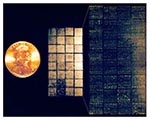 Thumbnail of DNA microarray--Lymphochip. (Center) Lymphochip version 8.0, printed on a coated glass microscope slide using a 32-tip printing head, contains 17,856 cDNA clones (overhead illumination) (14). (Left) U.S. penny, for scale. (Right) Scanned image demonstrating differential hybridization of Cy3- and Cy5-labeled cDNA to this microarray. (Illustration by A. Alizadeh, M. Eisen, and P. Brown, Stanford University; and L. Staudt, National Cancer Institute).