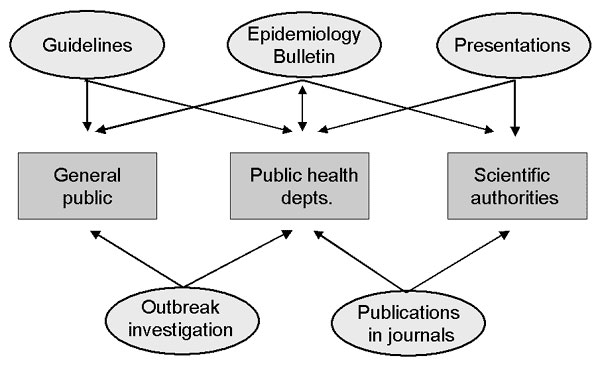 Program communication activities and principal target groups for the development of applied infectious disease epidemiology at the Robert Koch Institute.