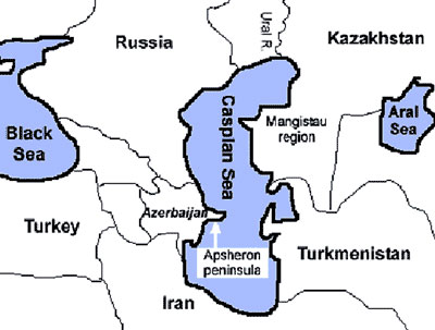 Map of the Caspian Sea region. Seal samples were collected from Kazakhstan, Turkmenistan, and the Apsheron peninsula, Azerbaijan.