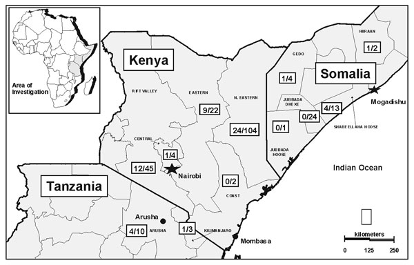 Figure 3 - Geographic distribution of Rift Valley fever outbreak, East Africa, 1997-98. (Number of confirmed cases / number of cases with severe febrile illness reported to surveillance system). Source: Morbidity and Mortality Weekly Report 1998;47:261-4.