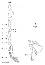 Thumbnail of Figure 1 - Map of South America showing the geographic position of Chile and map of Chile presenting the geographic distribution of the administrative regions of the country. aNumber of the corresponding administrative region. bMetropolitan region.
