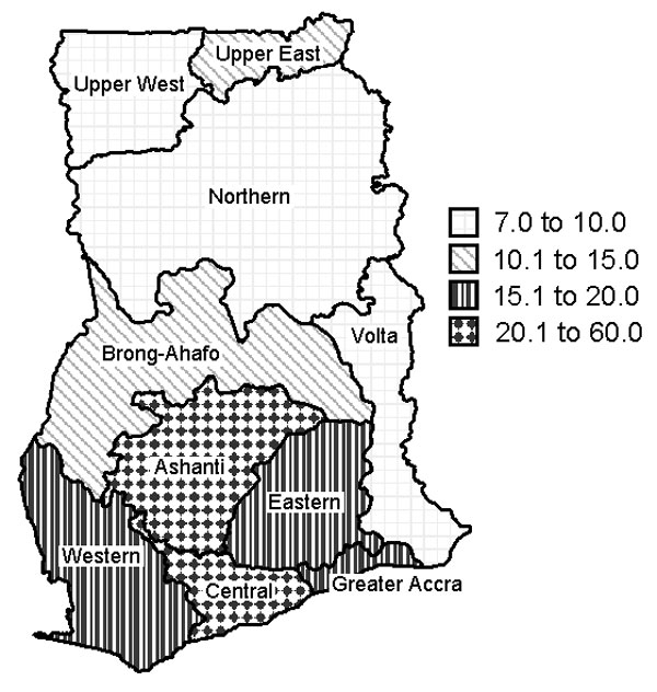 Prevalence of suspected active cases of Buruli ulcer, by region, Ghana, 1999.