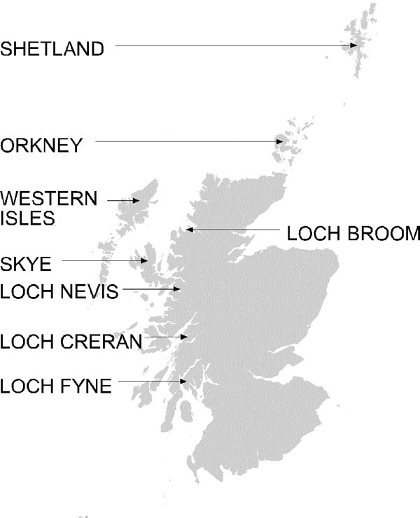 Map of Scotland showing locations named in text. The lochs shown are marine fjords.