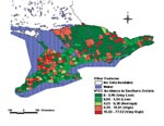 Thumbnail of Yearly incidence of shiga toxin-producing Escherichia coli infection (per 100,000 population), southern Ontario, 1996-1998.