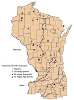 Thumbnail of Geographic distribution of study sites ranked by abundance of Ixodes scapularis in Wisconsin, northern Illinois, and Menominee County in Michigan.
