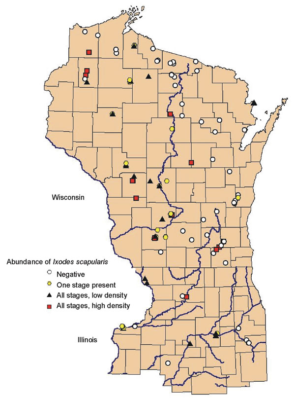 Geographic distribution of study sites ranked by abundance of Ixodes scapularis in Wisconsin, northern Illinois, and Menominee County in Michigan.