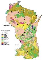 Thumbnail of Map of soil orders in Wisconsin and northern Illinois, overlaid with tick study sites.