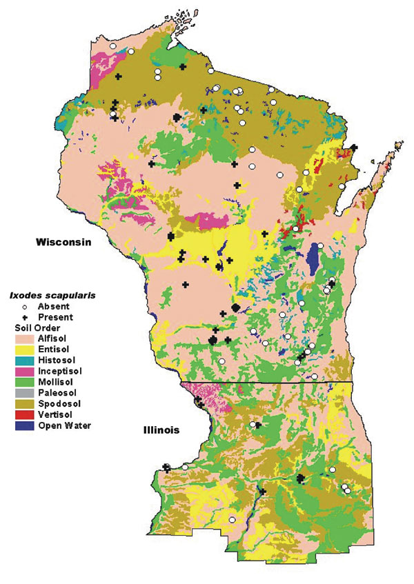 Map of soil orders in Wisconsin and northern Illinois, overlaid with tick study sites.