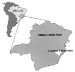 Thumbnail of Map of Brazil and Minas Gerais State, showing Coronel Fabriciano municipality.