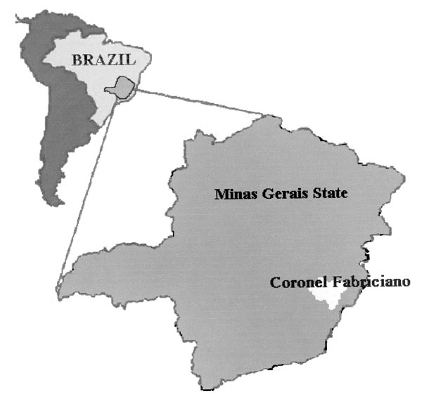 Map of Brazil and Minas Gerais State, showing Coronel Fabriciano municipality.