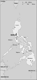 Thumbnail of Collection sites for bats used in active surveillance of lyssaviruses in the Philippines.