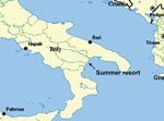 Thumbnail of Map of Italy, showing location of tourist resort on Gulf of Taranto.