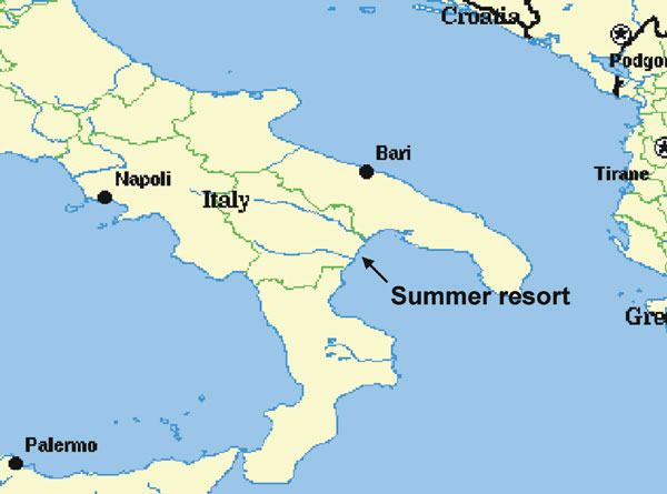 Map of Italy, showing location of tourist resort on Gulf of Taranto.