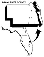 "Thumbnail of Map of Indian River County, Florida, with numbered locations of the five sentinel chicken flocks. The location of the mosquito collection site is denoted by ""M."""