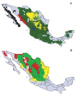 Thumbnail of Modeled geographic distributions of Neotoma woodrats in mainland Mexico. (A) black = Neotoma fuscipes, red = N. phenax, green = N. mexicana (note that this distribution includes those of other, less widely distributed, species), yellow = N. goldmani, blue = N. palatina, orange = N. angustapalata. (B) red = N. albigula, yellow = N. micropus, green = N. albigula and N. micropus.