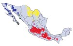 Thumbnail of Modeled geographic distributions of members of the protracta species complex: red = Triatoma barberi, yellow = T. p. woodi, green = T. sinaloensis, blue = T. p. protracta, black = T. peninsularis, and pink = T. p. zacatecensis. Only areas predicted for each species at the highest level of confidence (all best-subsets models agree) are shown.