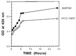 Thumbnail of Graph showing kinetics of adherence by SMPD92 and ATCC 13637. Bacteria were allowed to bind to the plastic for 72 h and then were stained with crystal violet. Bacterial uptake of the dye was measured at 620 nm. Closed and open circles represent SMDP92 and ATCC13637, respectively.