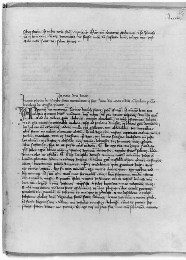 "The first page of the narrative of Gabriele de' Mussi. At the top of the page are the last few lines of the preceding narrative; de' Mussi's begins in the middle of the page. The first three lines, and the large ""A"" are in red ink, as are two other letters and miscellaneous pen-strokes; otherwise it is in black ink. Manuscript R 262, fos 74r; reproduced with the permission of the Library of the University of Wroclaw, Poland."
