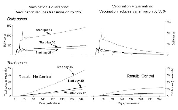 Daily and total cases of smallpox after a combined quarantine (25% daily removal rate) and vaccination campaign for two vaccine-induced reductions in transmission and three postrelease start dates. The graphs show that, when combined with a daily quarantine rate of 25%, vaccination must achieve a >33% reduction in transmission to stop the outbreak. At a 25% daily removal rate of infectious persons by quarantine, a cohort of all those entering their first day of overt symptoms (i.e., rash) is
