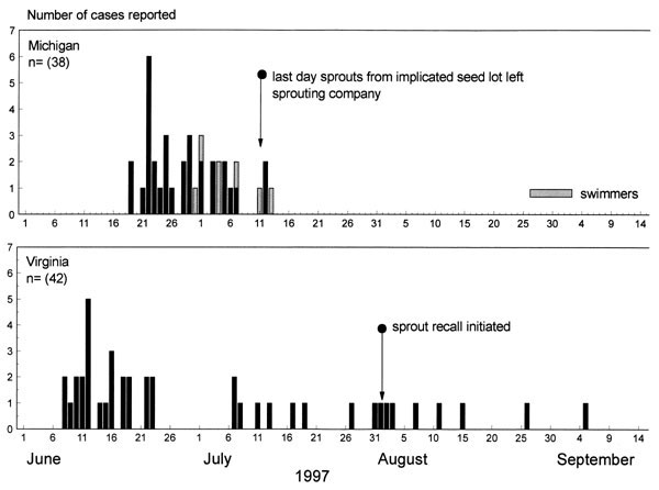 Date of onset of illness for persons with Escherichia coli O157:H7 infection and the outbreak pulsed-field gel electrophoresis pattern, Michigan and Virginia, June to September 1997.