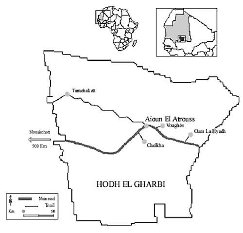 Map of Hodh el Gharbi region, Mauritania.