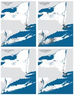 Thumbnail of Maps of ill or dead crow sightings (a,b) and West Nile virus-positive dead birds of any species (c,d), New York State, 2000.