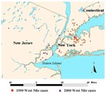 Thumbnail of Metropolitan New York area hospitalized West Nile virus patients, 1999-2000.