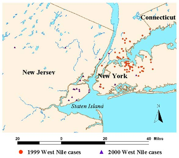 Metropolitan New York area hospitalized West Nile virus patients, 1999-2000.