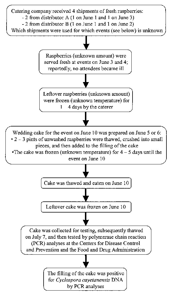 Flow chart with details about raspberries and wedding cake served at a wedding reception in June 2000 in Pennsylvania. The shipment of raspberries the catering company received on June 3 included raspberries from Guatemala. As noted, some details (e.g., the date the cake was prepared, the temperature of the freezer at the catering company) are unknown.