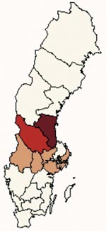 Thumbnail of Map of Sweden showing the areas used in the analysis. Heavy shade marks tularemia-endemic area, medium shade the border area, and light shade the emergent area, where many cases occurred during the 2000 outbreak, but few cases were reported during the previous decade.