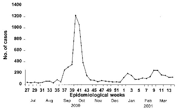 Number of cases of hand, foot and mouth disease reported to the Singapore Ministry of Environment as surveillance for the disease, July 2000–March 2001. Each epidemiologic week begins on Sunday. Mandatory reporting of the disease began on October 1, 2000.