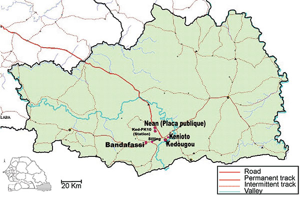 Map of the Kedougou area, Senegal, showing geographic position of villages and forest gallery where dengue virus serotype 2 vectors were collected.