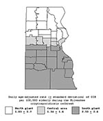Thumbnail of Age-adjusted daily rates of gastroenteritis-related emergency room visits and hospitalizations per 100,000 elderly persons during the cryptosporidiosis outbreak (March 28, 1993–April 24, 1993) in three drinking water service areas (north, central, and south), Milwaukee, Wisconsin.