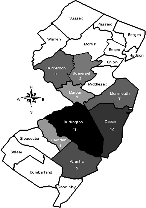 Map of New Jersey showing its 21 counties. The eight counties in which reported cases of babesiosis were acquired from 1993 through 2001 are shaded in gray (the darker the gray, the more cases). The number of cases reported per county is shown under the name of the county.