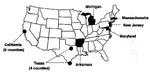Thumbnail of Map showing locations of the sentinel surveillance sites in the National Tuberculosis Genotyping and Surveillance Network, United States.