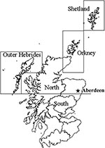 Thumbnail of Salmon production regions in Scotland, including the city of Aberdeen, the site of the FRS Marine Laboratory, where fish health inspectors and virologists are based.