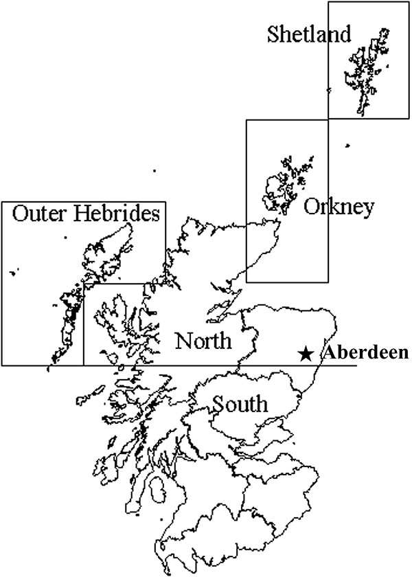 Salmon production regions in Scotland, including the city of Aberdeen, the site of the FRS Marine Laboratory, where fish health inspectors and virologists are based.