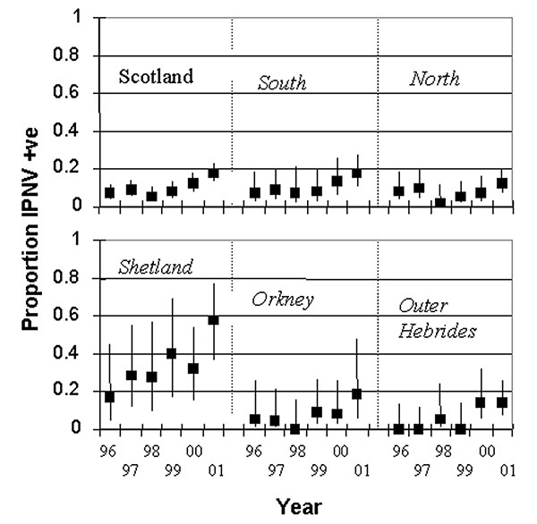 Prevalence of infectious pancreatic necrosis virus in Scottish freshwater salmon production sites by region and year. The regions are northern mainland Scotland, southern mainland Scotland, Shetland, Orkney, and the Outer Hebrides. Bars show 95% confidence intervals.