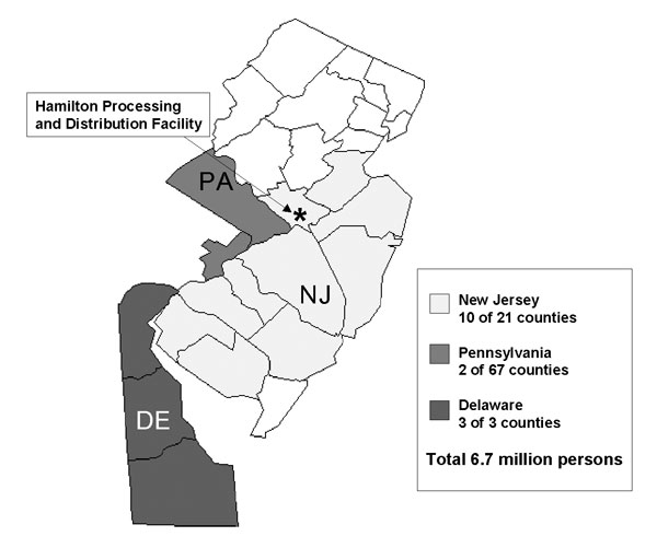 Counties participating in active surveillance, New Jersey, Pennsylvania, and Delaware, 2001.