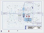 Thumbnail of Floor map of the Trenton Postal Distribution Center in Hamilton Township with locations of environmental samples taken October–November, 2001, and work stations of New Jersey case-patients on dates when letters containing Bacillus anthracis were sorted. Blue man = male, cutaneous anthrax; red woman = female, inhalational anthrax. *Machine mechanic worked throughout the mail-sorting area the night the letters containing B. anthracis destined for New York were sorted.